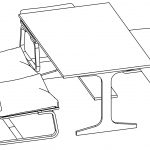 Dining Table Perspective View Coloring Page