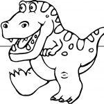 Dinosaur Cartoon Funny Coloring Page