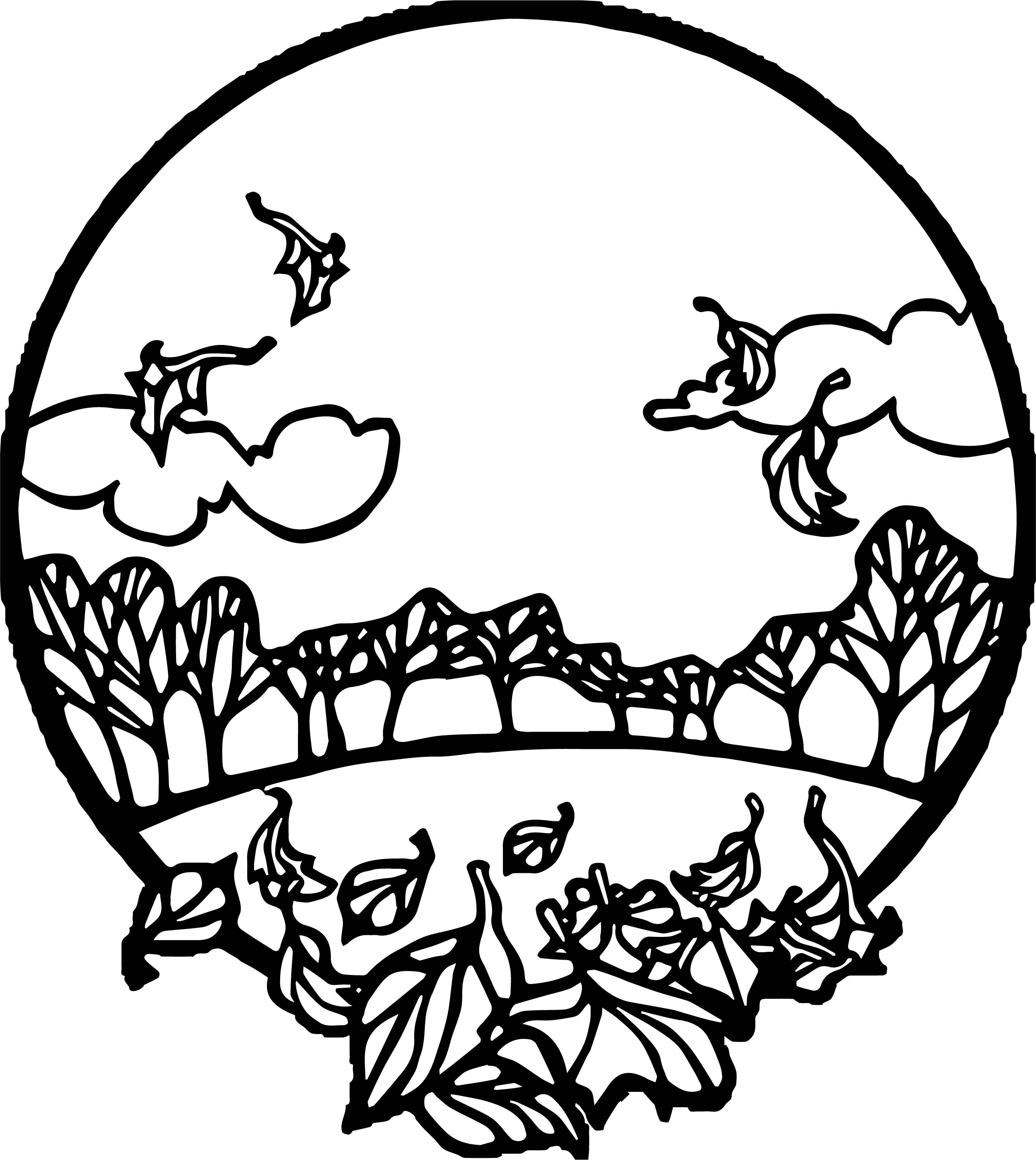 Fall Scene Circle Coloring Page