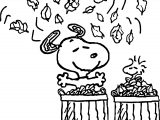 Fall Snoopy And Bird Happy Coloring Page