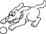 Fast Dog Catch Ball Cartoon Funny Coloring Page
