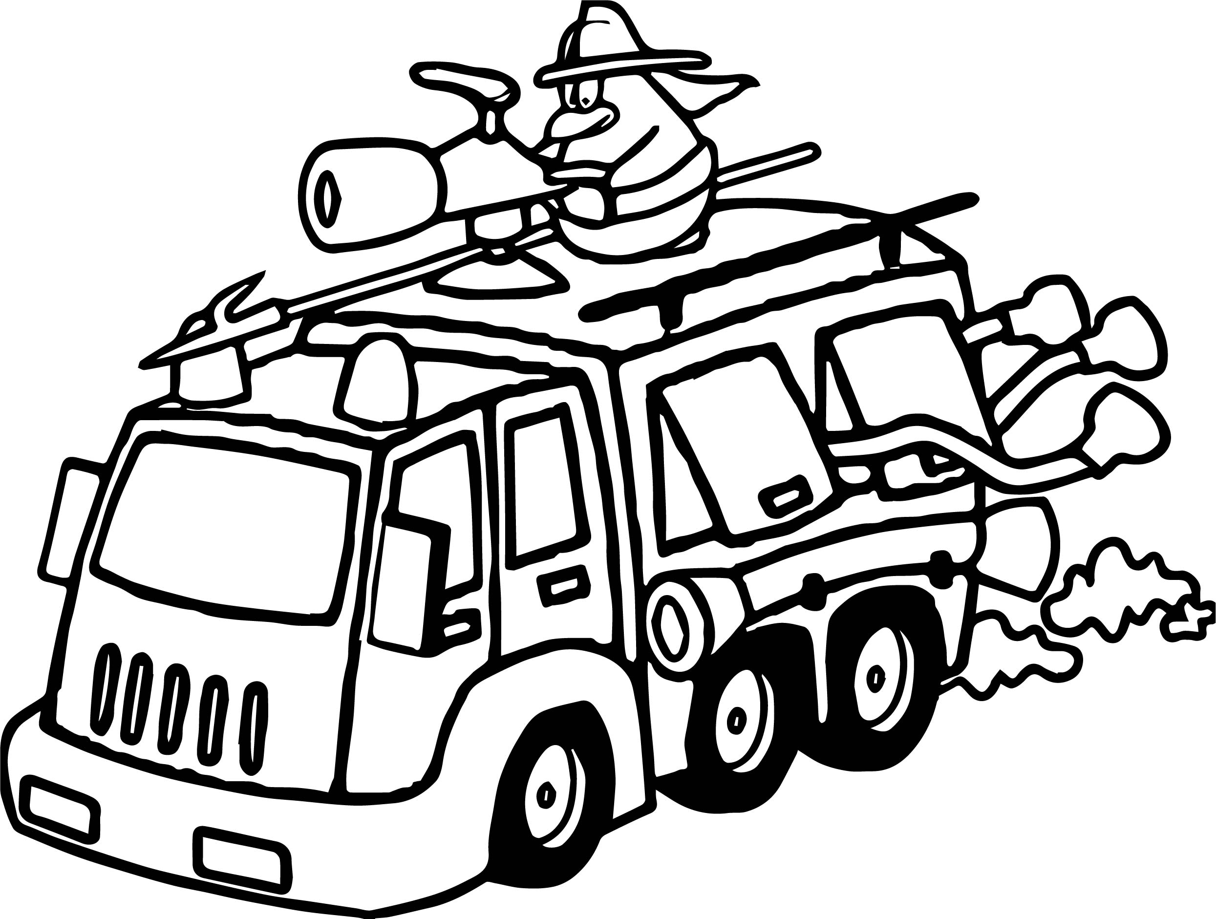 Fire Truck Penguin Coloring Page
