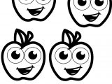 Four Apple Coloring Pages
