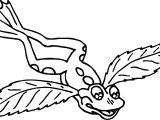 Frog Leaf Wings Coloring Page