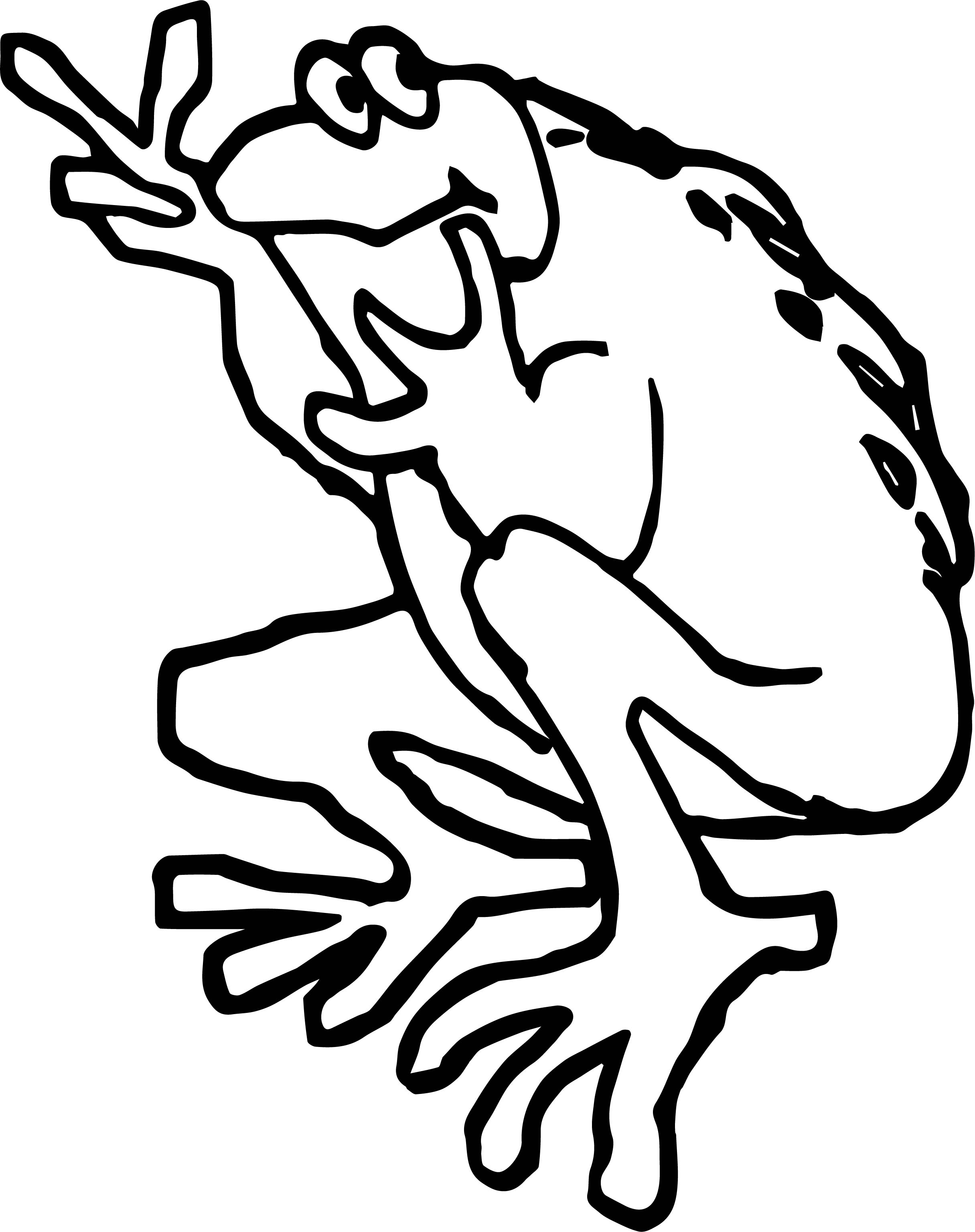 Frog Peace Coloring Page