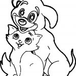 Funny Dog And Cat Coloring Page