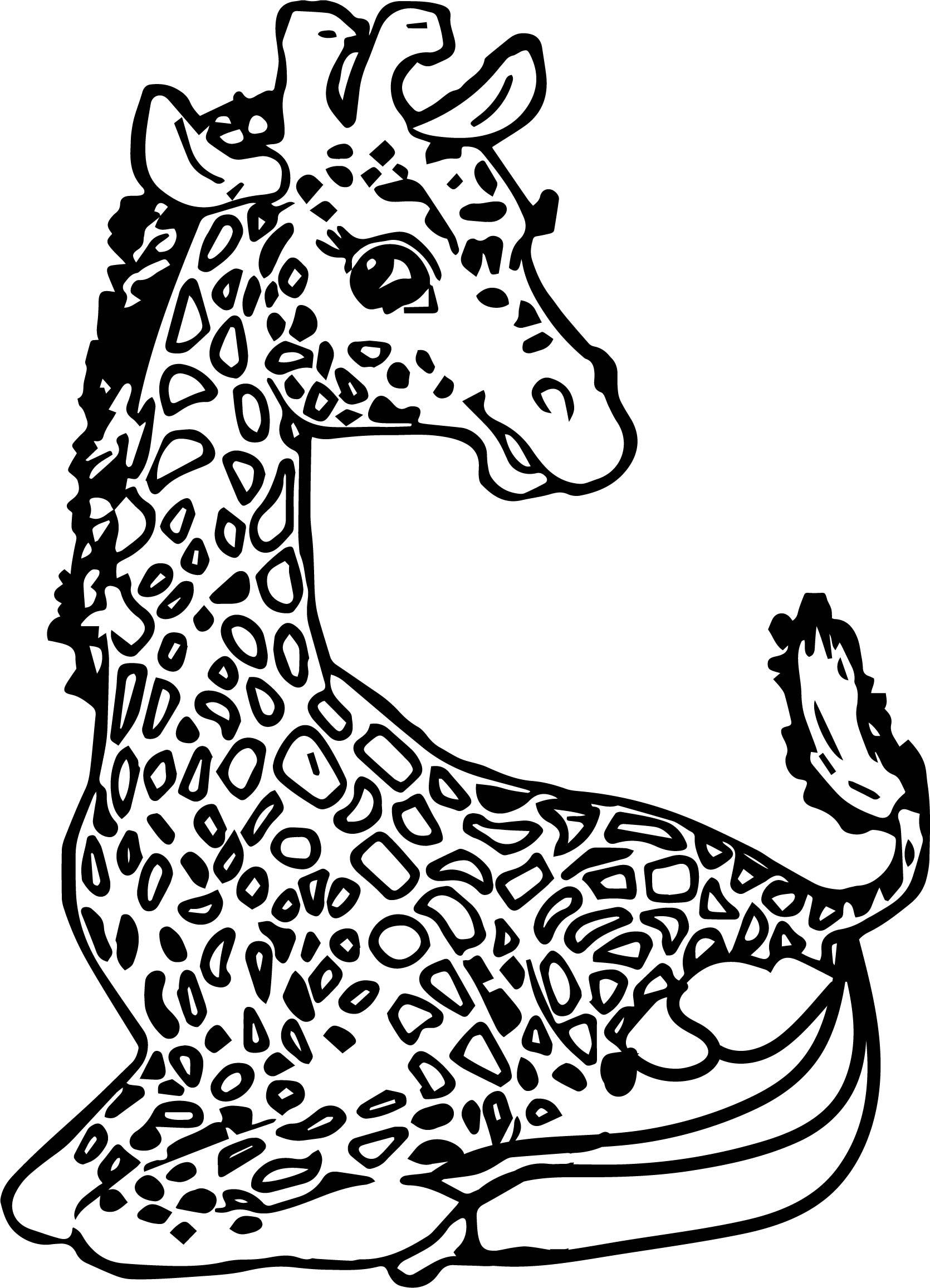 Giraffe Suprise Coloring Page