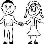 Girl And Boy Friends Coloring Page