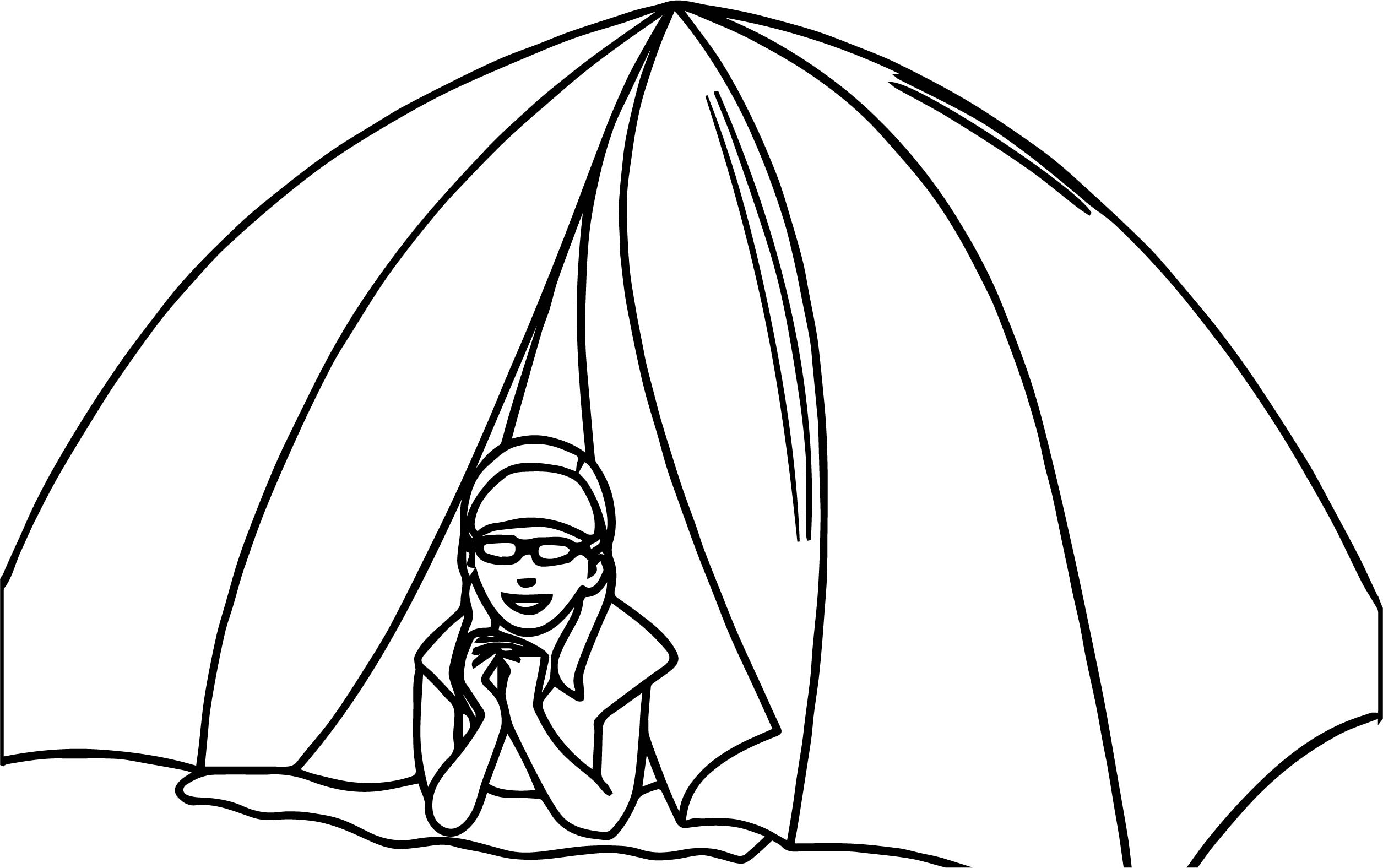 Girl In Tent Camper Camping Coloring Page