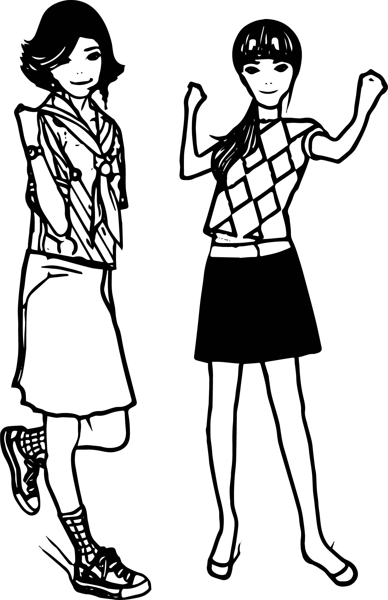 Girls Characters Coloring Page