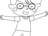 Glasses Child Boy Coloring Page