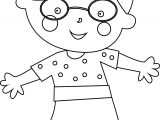 Glasses Child Girl Coloring Page