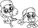 Gumball Darwin Cute Cat Cartoon Coloring Page