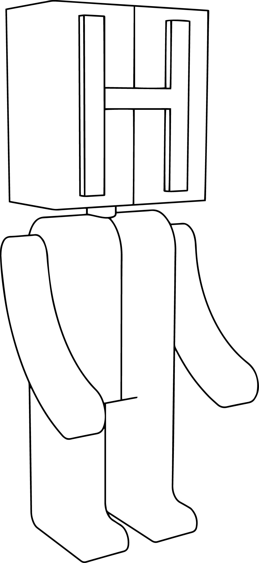 H Robot Cartoon Coloring Page