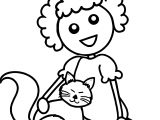 Haired Cartoon Girl Sitting With Her Cat Coloring Page