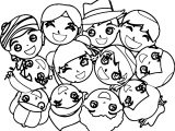 Happy Childrens Faces Coloring Page