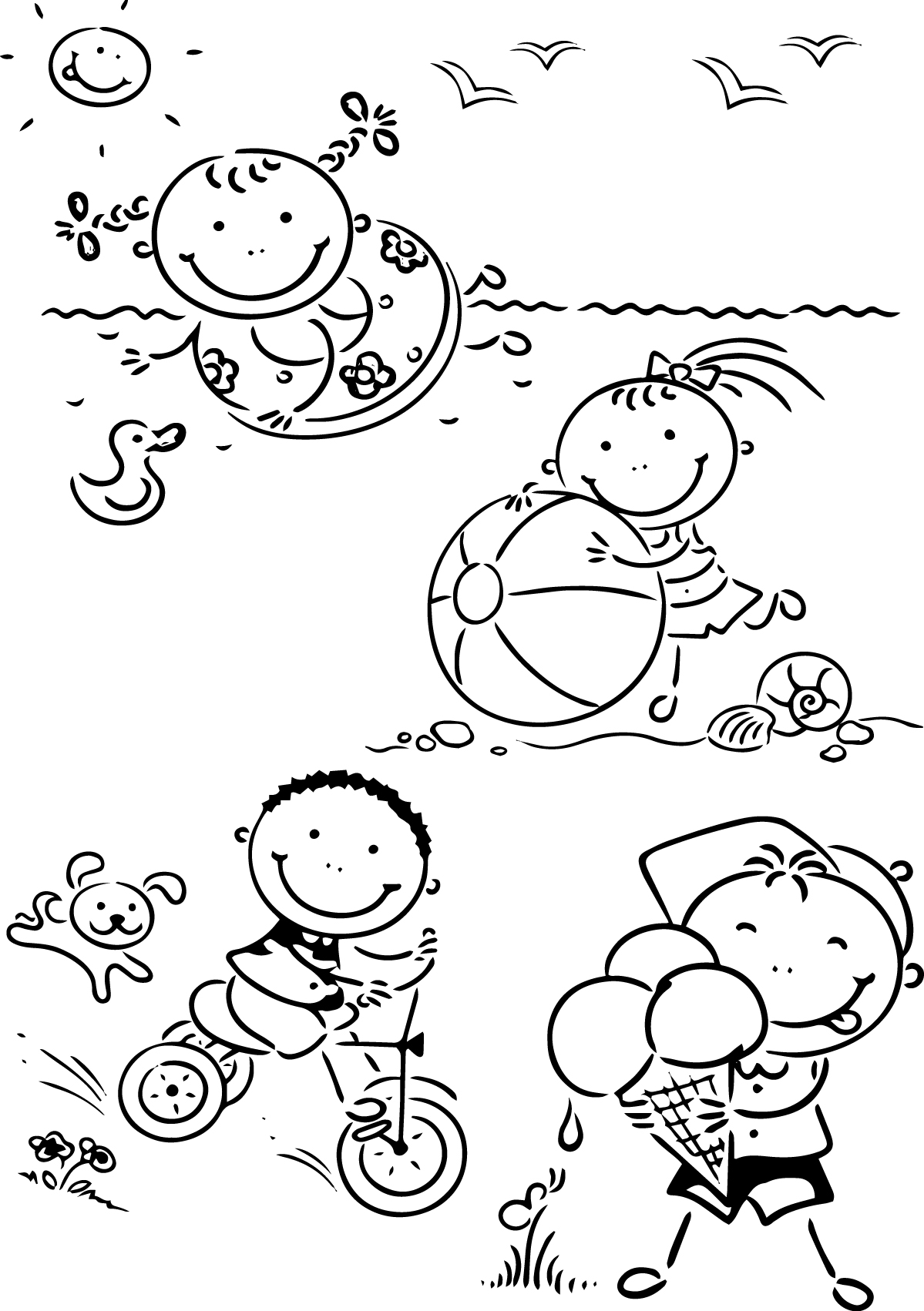 Happy Childrens Summer Coloring Page