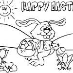 Happy Easter Bunny Cartoon Funny Coloring Page