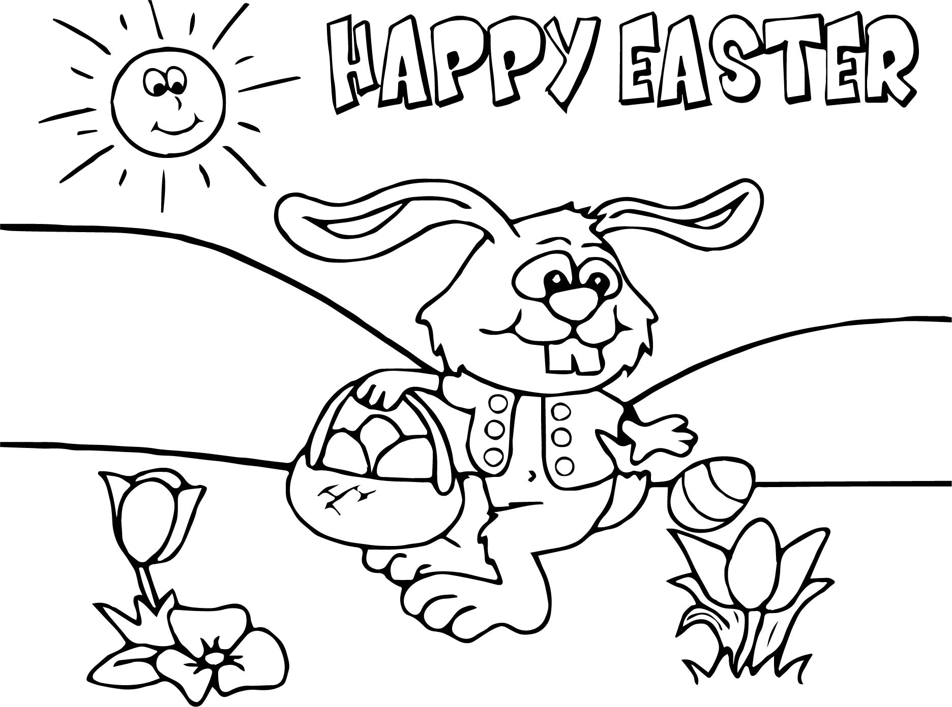 happybunny coloring pages | Happy Easter Bunny Cartoon Funny Coloring Page ...