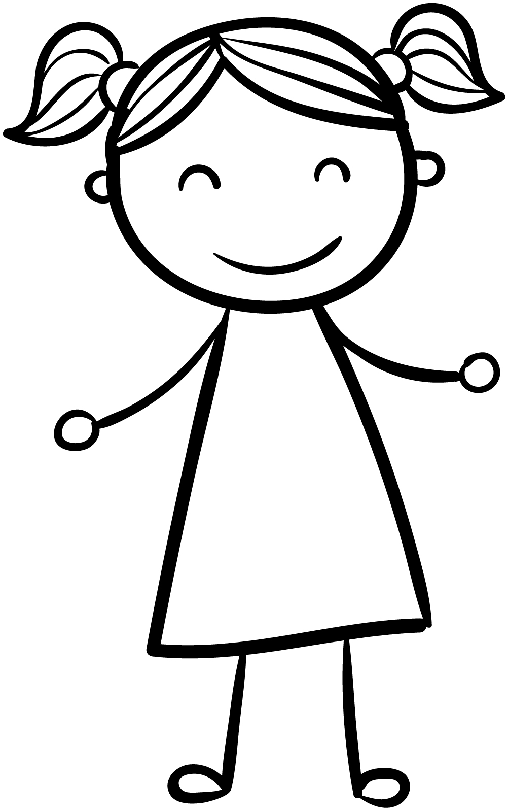 Happy Girl Children Coloring Page Wecoloringpage