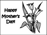 Happy Mother Days Flower For Children Coloring Page