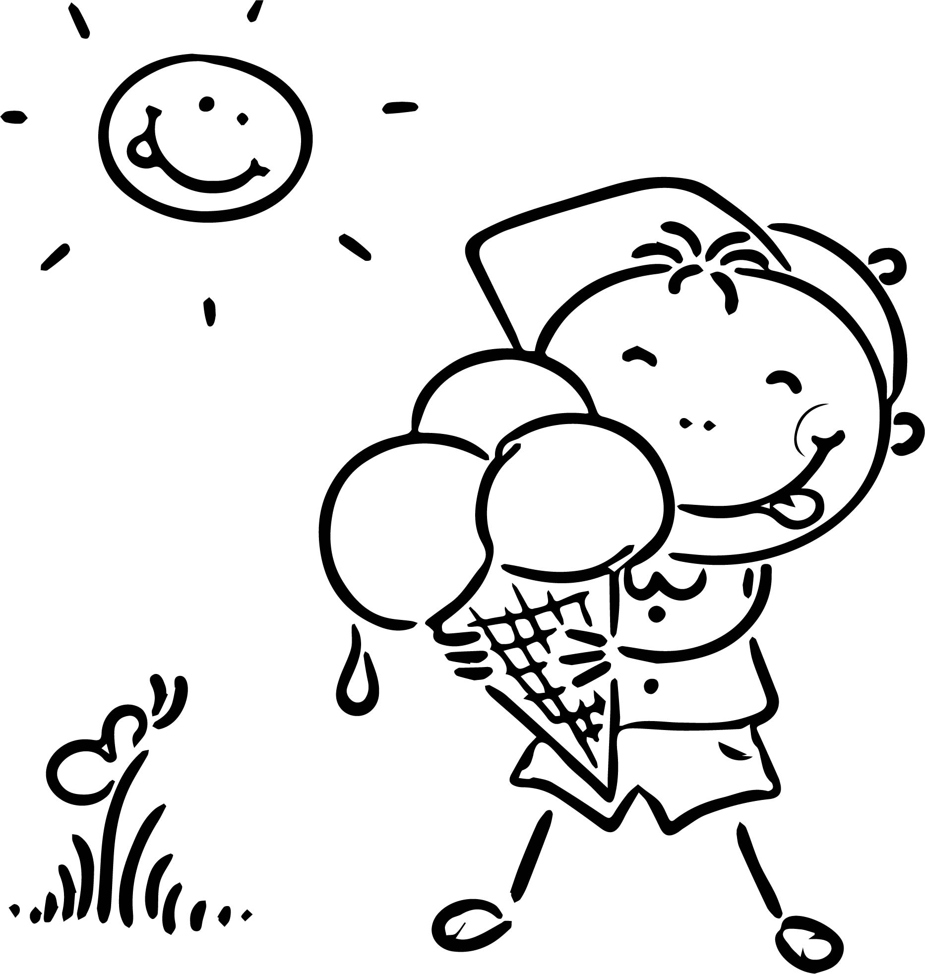 Happy Summer Ice Cream Coloring Page