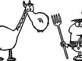Hayseed Farmer With Pitchfork And Milk Pail And His Horse Coloring Page