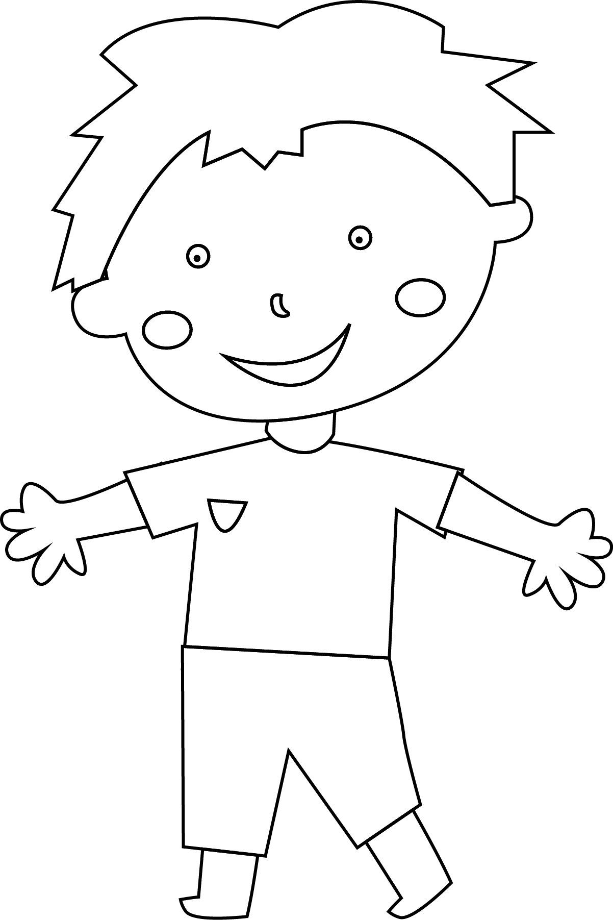 Hello Child Boy Coloring Page