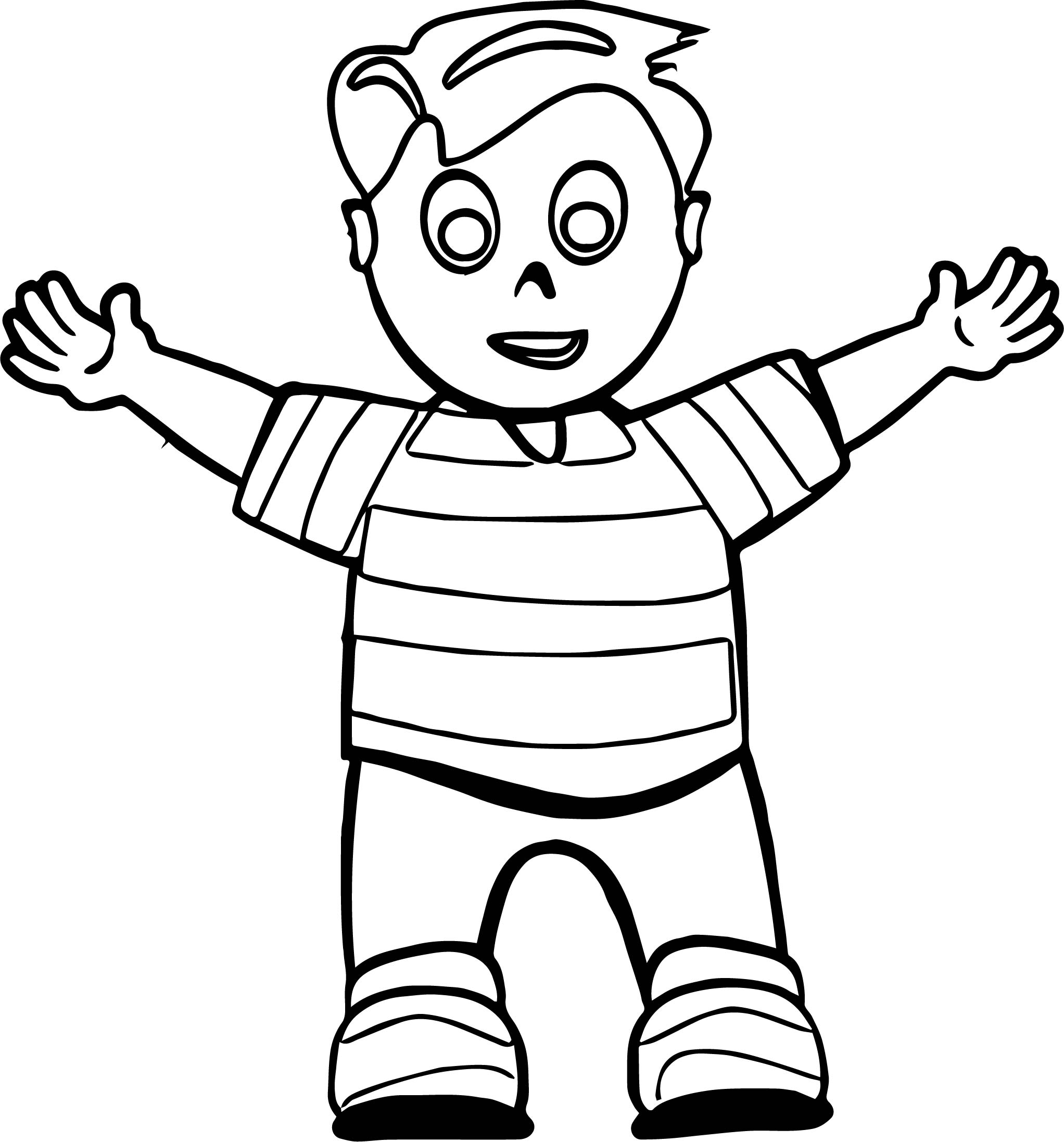 Hello Hug Boy Coloring Page