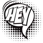Hey Speech Bubble Coloring Page