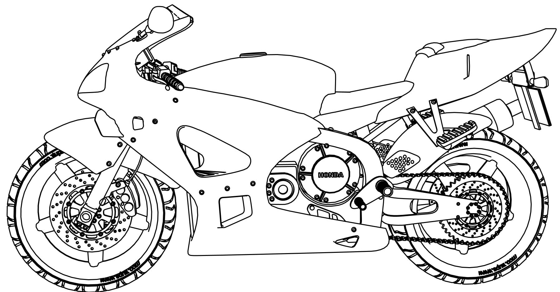 honda motorcycle coloring page