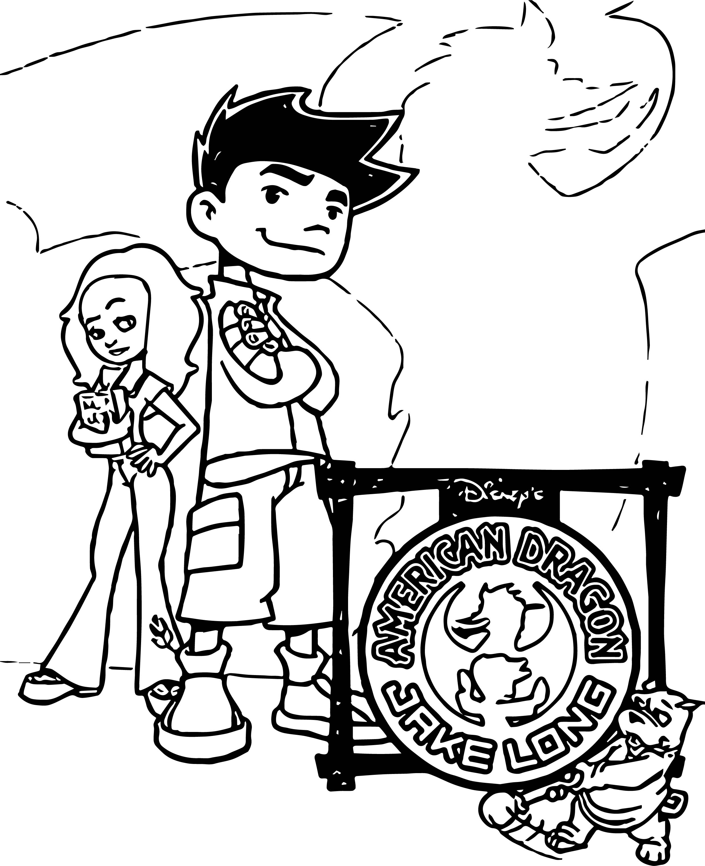Jake And Rose American Dragon Jake Long Coloring Page