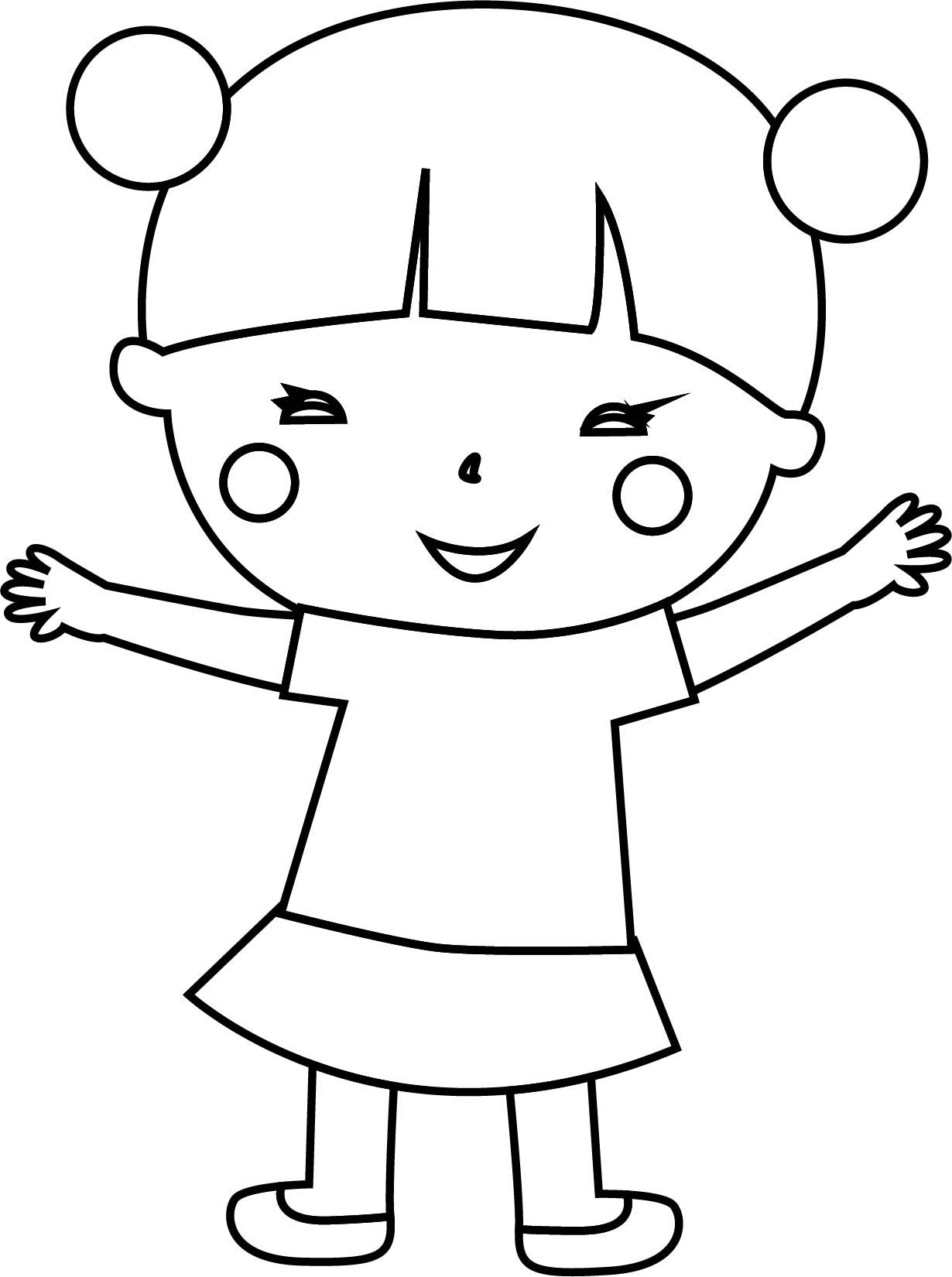 Japan Child Girl Coloring Page