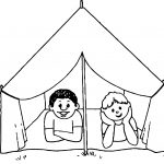 Kids Camping Picture Coloring Page