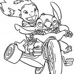 Lilo And Stitch Riding Bicycle Coloring Page