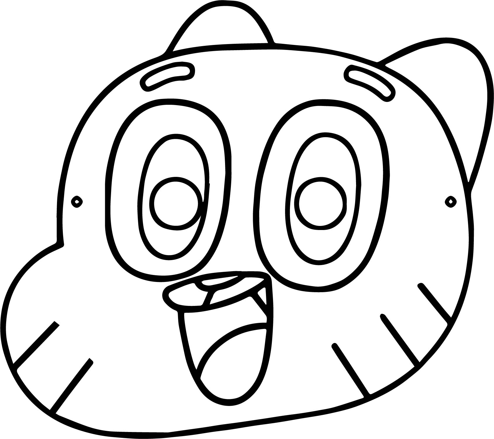 Mask Gumball Party Children Coloring Page