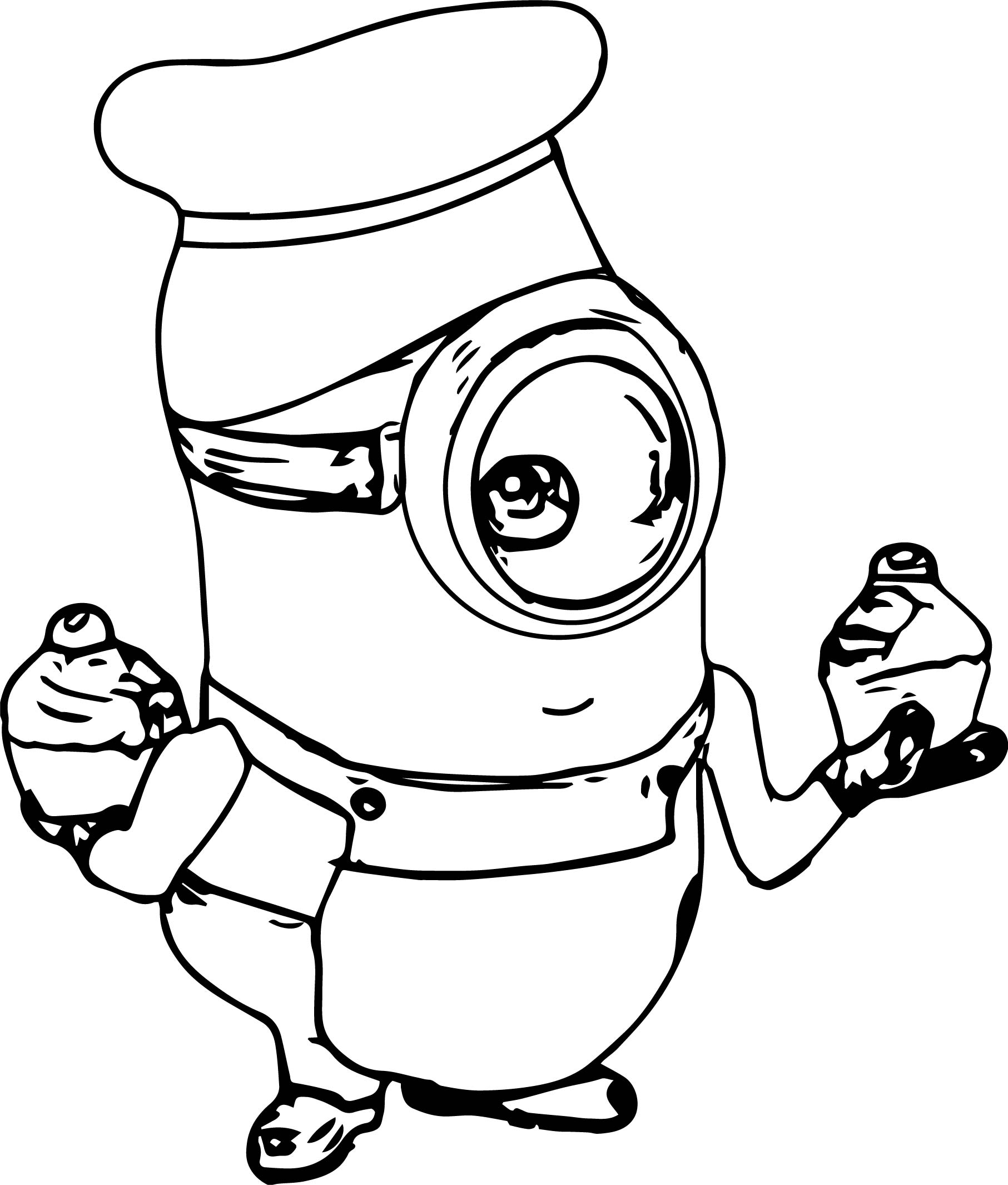 Minion Cupcake Time Coloring Page