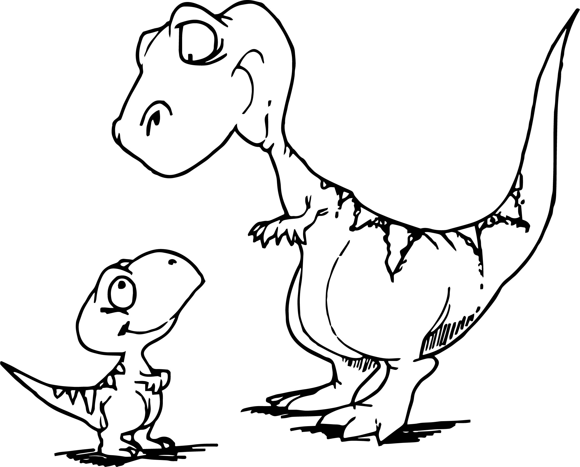 Mom Dinosaur And Child Coloring Page