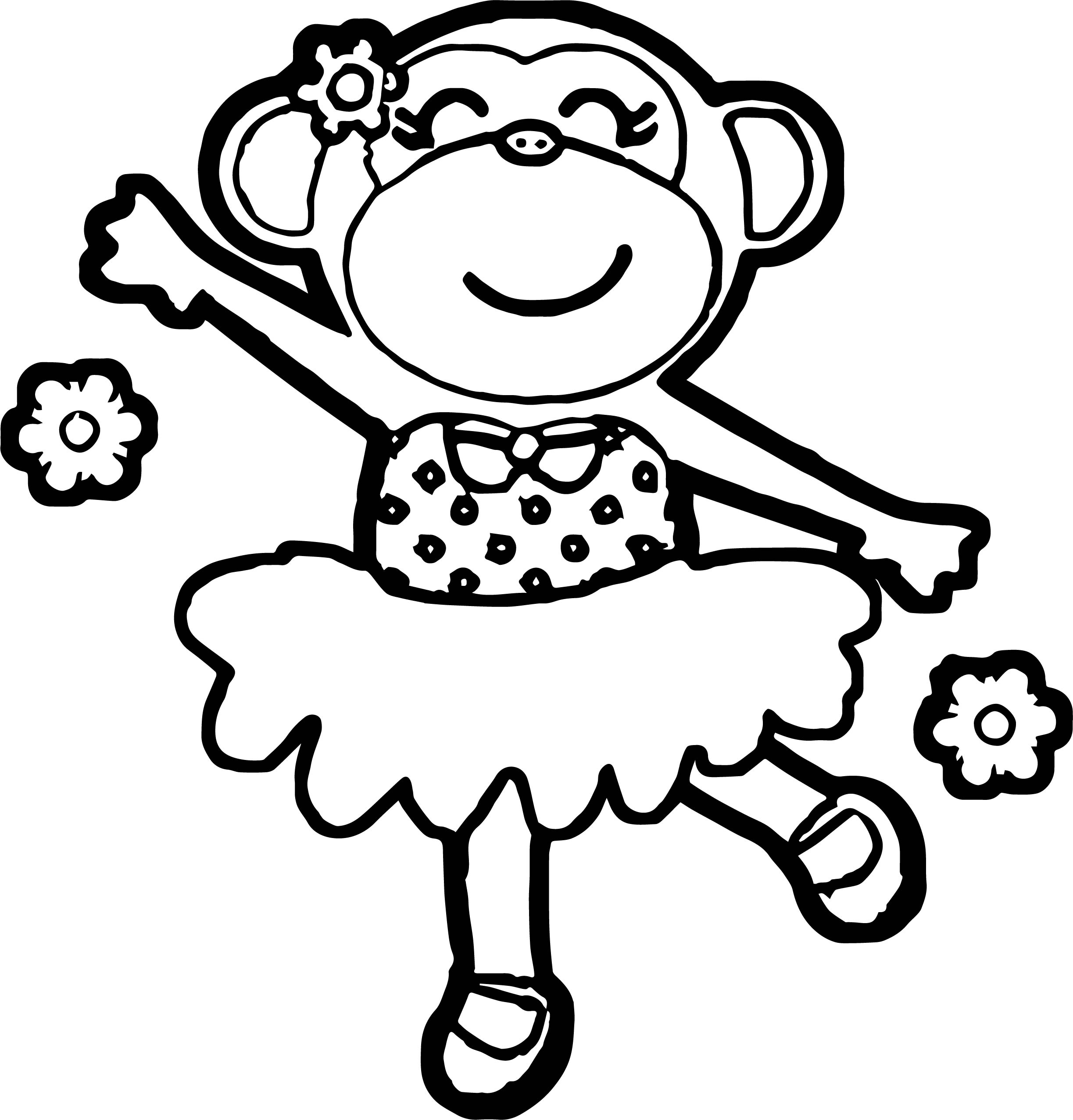 Monkey Ballerina Coloring Page