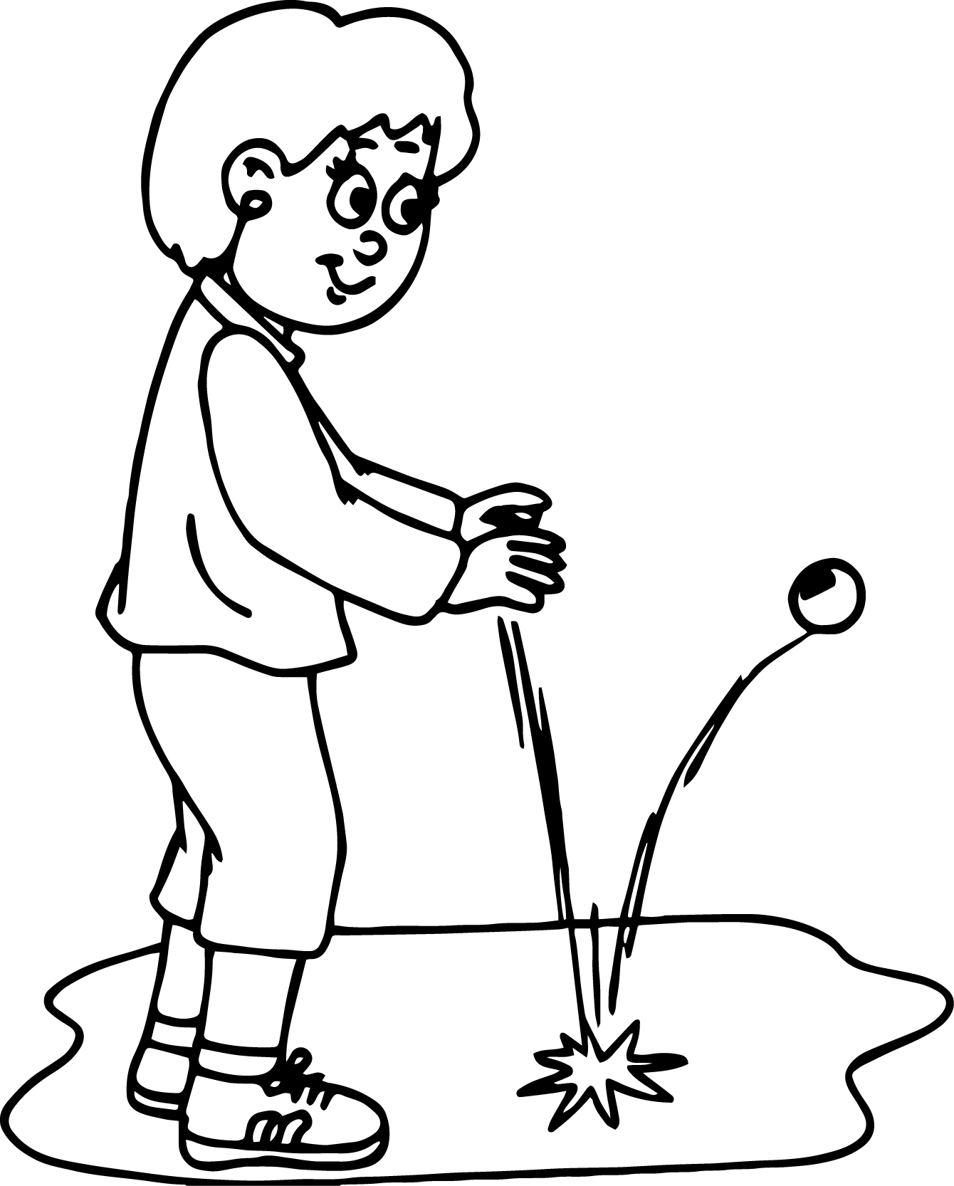 Mother Playing Ball Coloring Page