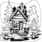 Mountain Cabin Camping Coloring Page