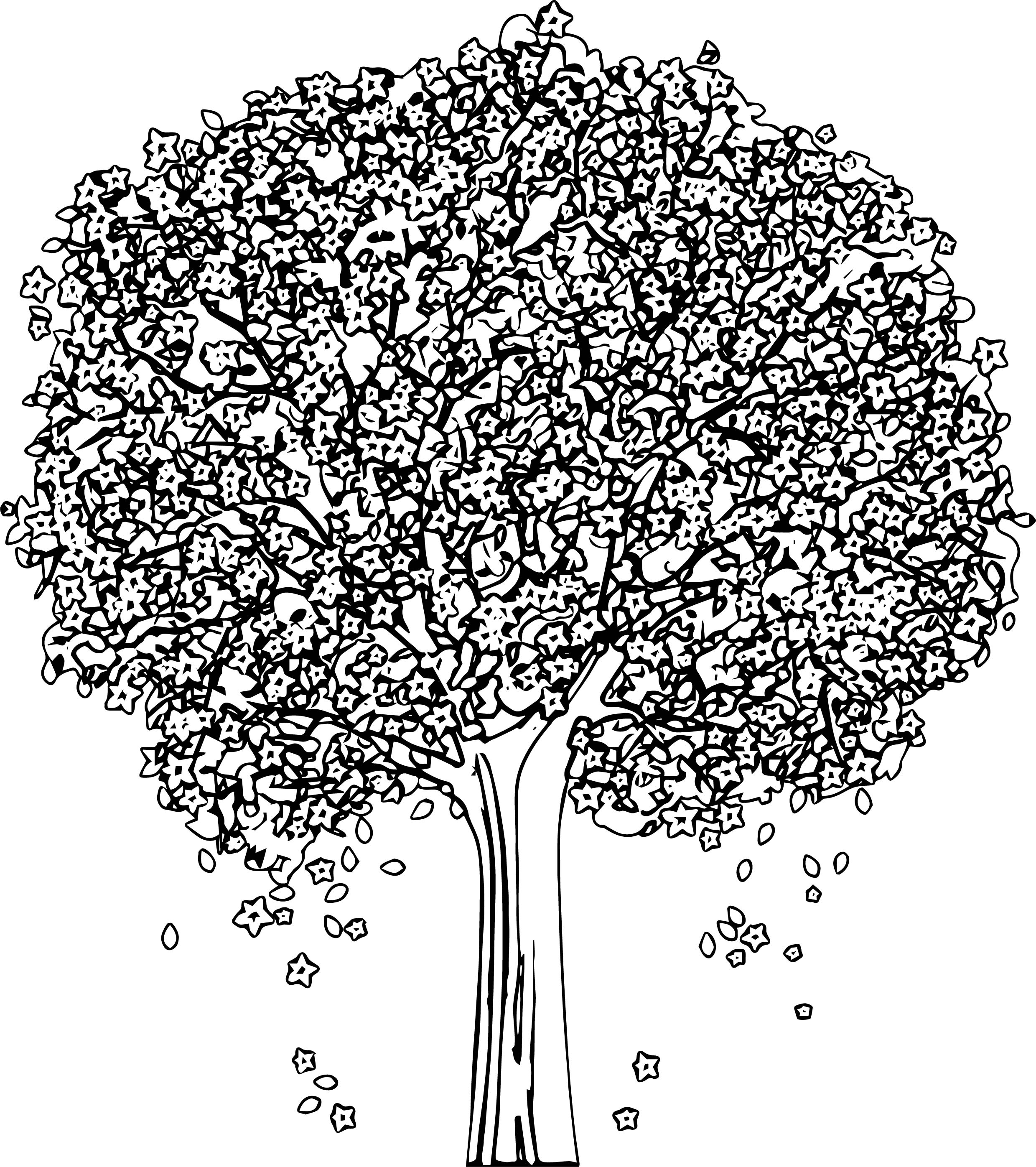 New Spring Tree Coloring Page