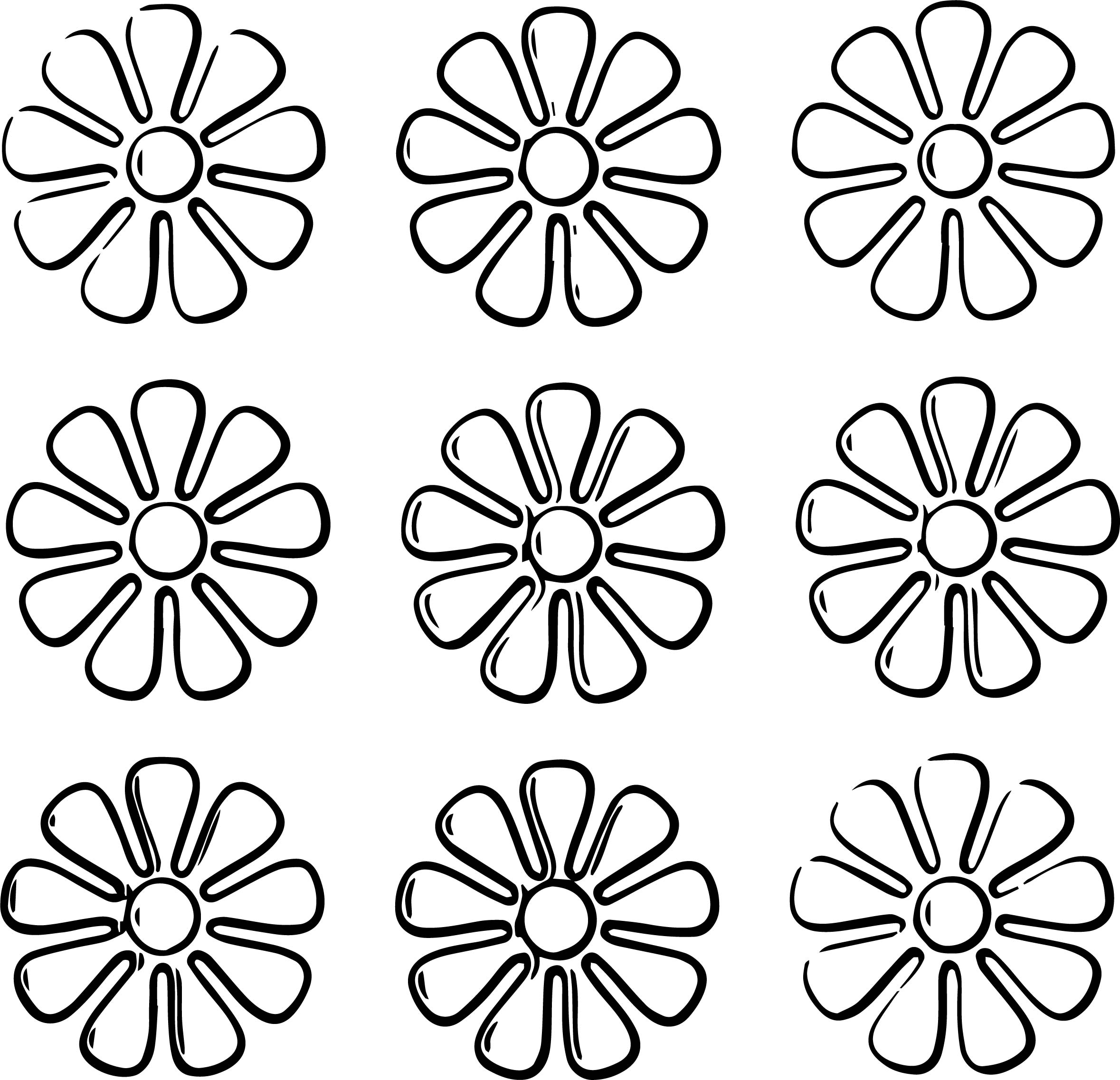Nine Flower Coloring Page