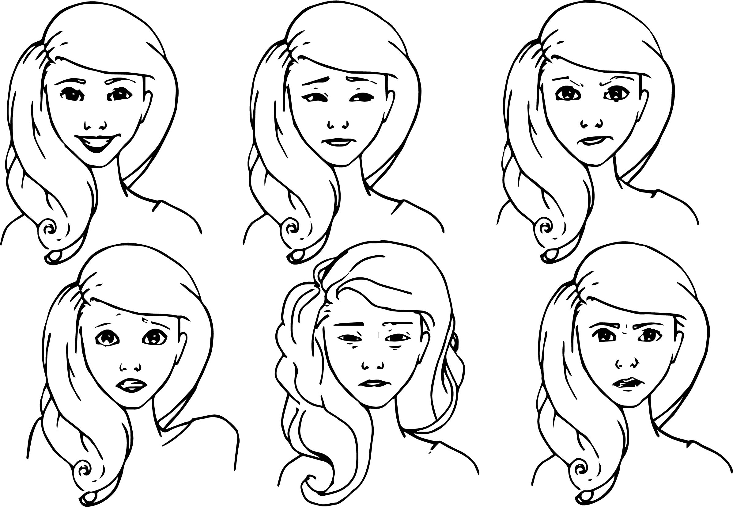 Color In Character Design : Nora character girl design emotions coloring page