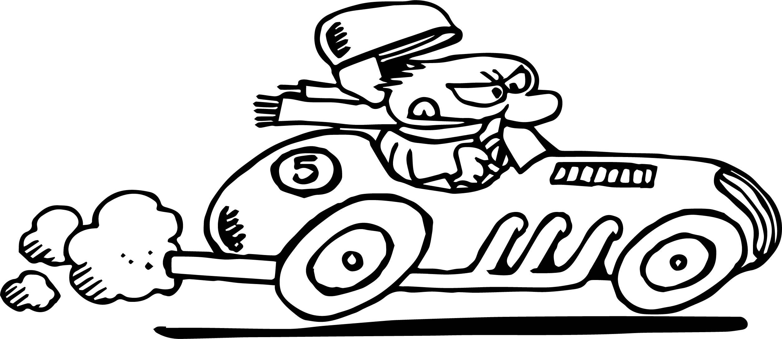 Old Race Car Cartoon Coloring Page