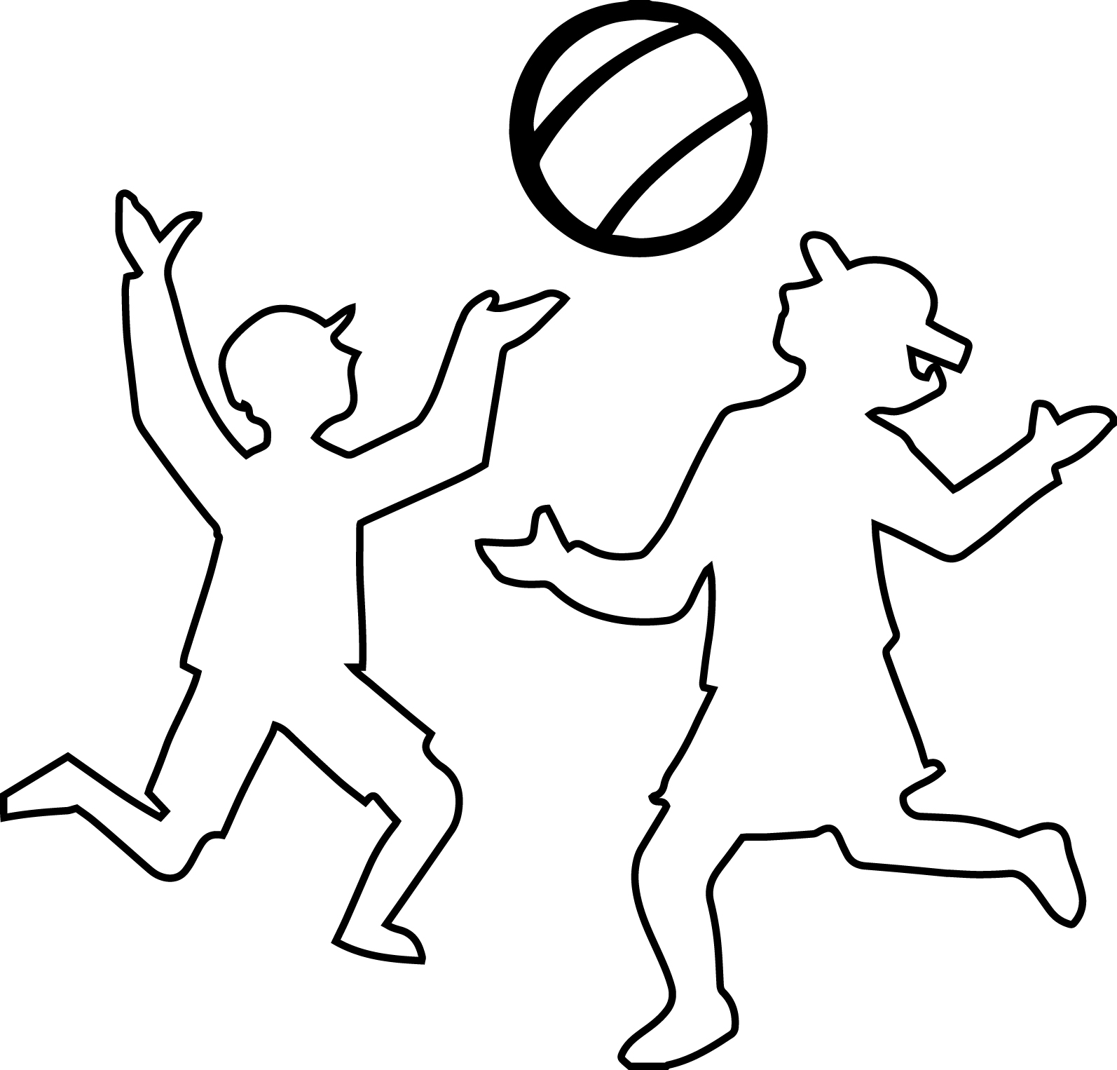 Play Voleyball Children Outline Coloring Page