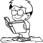 Read Book Boy Coloring Page Sheet Printable