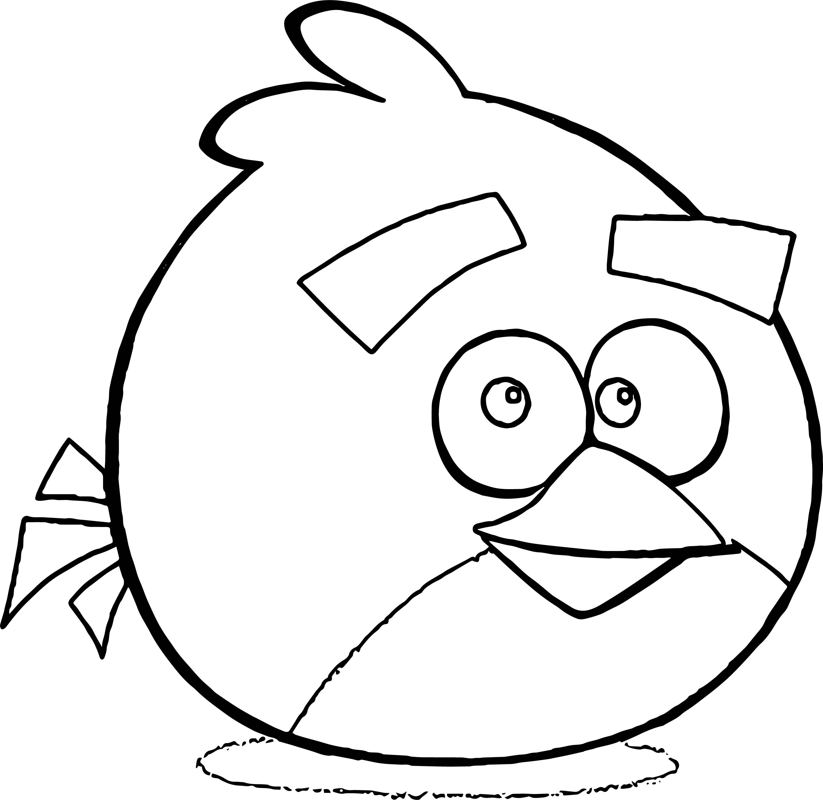 Red Angry Bird Smile Coloring Page