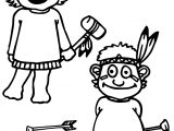Red Indian Childrens Coloring Page