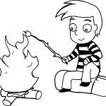 Roasting Marshmallows Coon Boy Camping Coloring Page